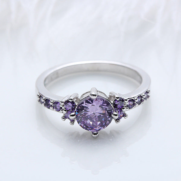 Sparkling 925 Sterling Silver Plated PURPLE Cubic Zirconia Crystal Ring - biker-rings.co.uk