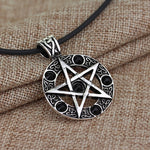 Silver Tone Black Enamel Pentagram Pendant Necklace - biker-rings.co.uk