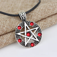 Silver Tone Red Enamel Pentagram Pendant Necklace - biker-rings.co.uk