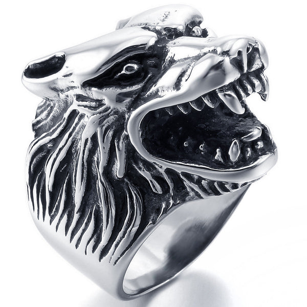 Vintage Men's Stainless Steel Wolf Head Gothic Biker Band Ring Silver - biker-rings.co.uk