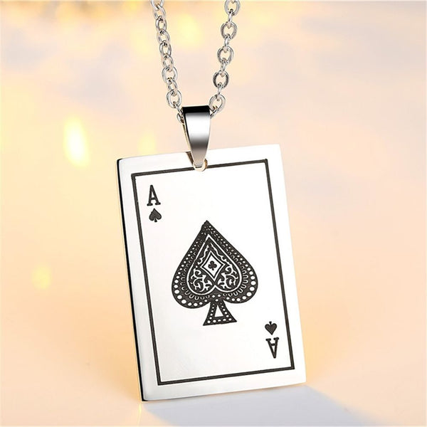 Stainless Steel Ace of Spades Poker Card Necklace - biker-rings.co.uk