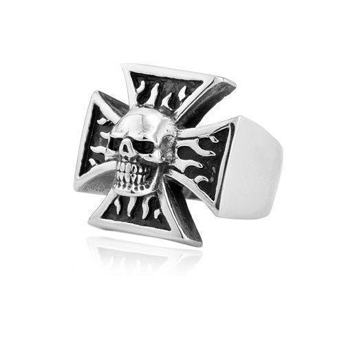 Silver Tone Celtic Cross Flaming Skull Biker Ring - biker-rings.co.uk