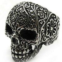 Silver Sugar Skull Ring Antique Floral Day Of The Dead, Mens Stainless Steel - biker-rings.co.uk
