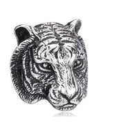 Mens Women Tiger Head Silver Stainless Steel Punk Gothic Animal Biker Ring - biker-rings.co.uk