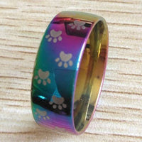 Rainbow Plated Dog Paw Print 8mm Multi Coloured Band rING - biker-rings.co.uk