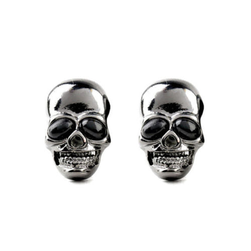 Vintage Gothic Black Skull Stud Earring - biker-rings.co.uk