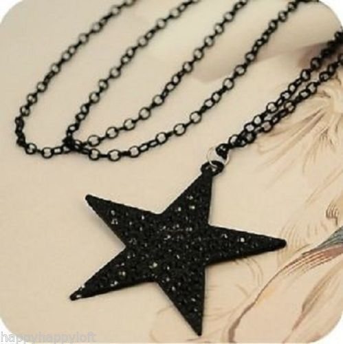 Funky Black Star Necklace Pendant Long Chain Retro Indie Emo Gothic Fashion - biker-rings.co.uk