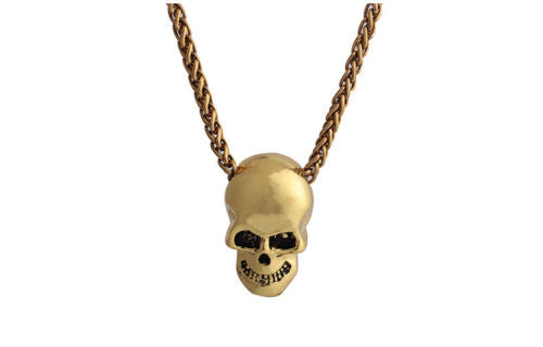 Gold Gothic HipHop Halloween Stainless Steel Skull Necklace - biker-rings.co.uk