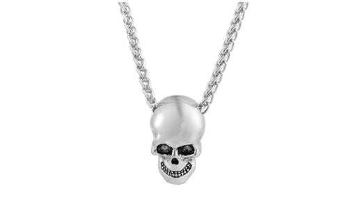 Silver Gothic HipHop Halloween Stainless Steel Skull Necklace - biker-rings.co.uk