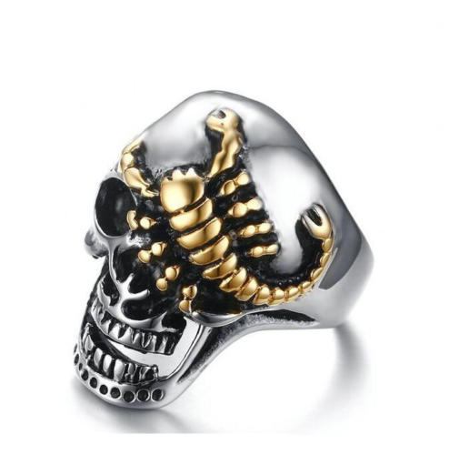Mens Silver Tone Gold Scorpion Skull Biker Ring - biker-rings.co.uk
