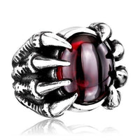 Gothic Red Moonstone Dragon Claw Ring - biker-rings.co.uk