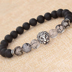 Mens Black Lava Stone Silver Plated Lion Bead Bracelet - biker-rings.co.uk