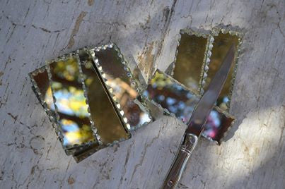 etched glass knife rests set/8