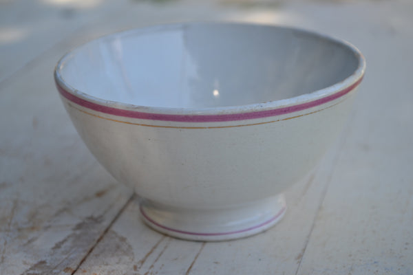 white with pink rim cafe au lait bowl