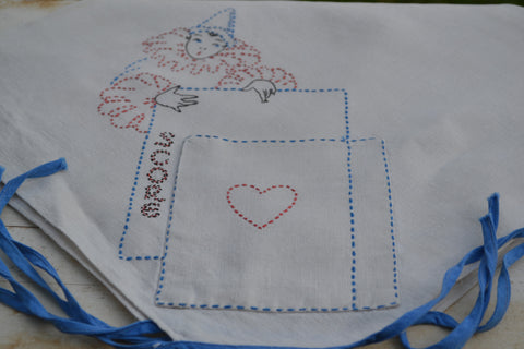 embroidered card table cover