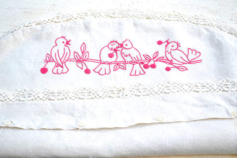 pink bird embroidered pillow cover