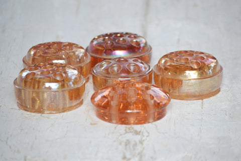 amber glass flower frogs set/6