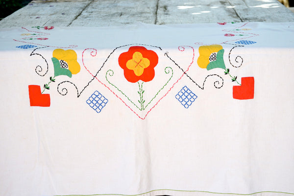 vibrant hand embroidered tablecloth