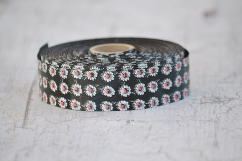 black flowered ribbon