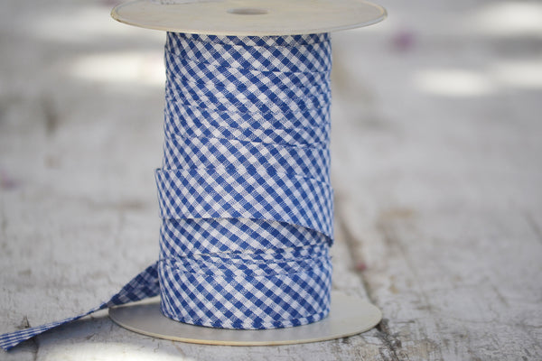 blue and white gingham ribbon
