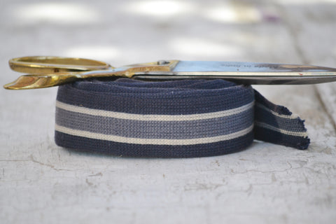 blue, white & gray striped ribbon