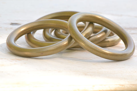 large brass curtain rings set/10