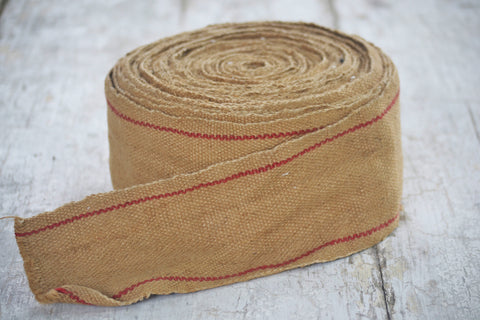 burlap tape with red stripe