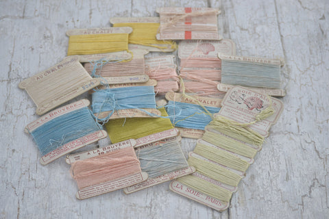 old french embroidery cards set/15