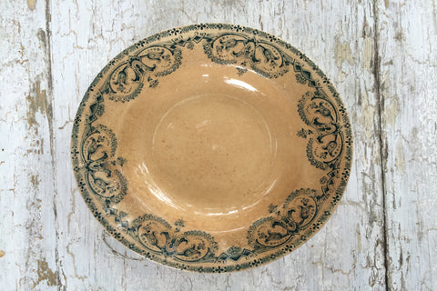 creme and blue french bowl