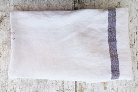 "lavender striped ""bp"" towel"