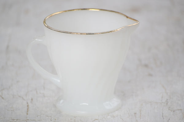 gold rim milk glass creamer