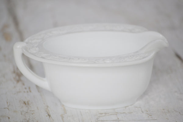 milk glass gravy boat