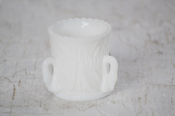 swan milk glass toothpick holder