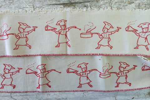 red embroidery little chef valance