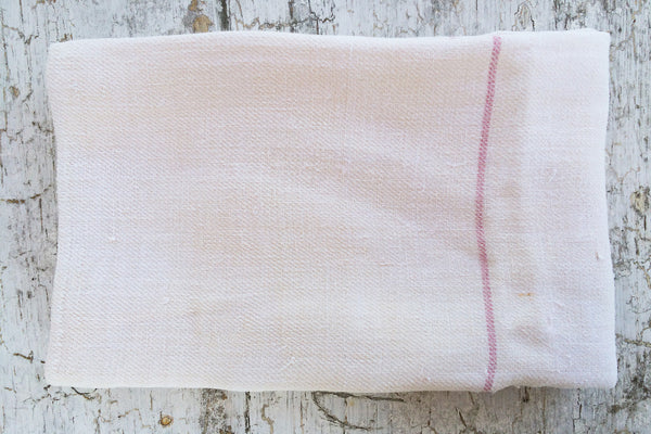 pink striped linen towel