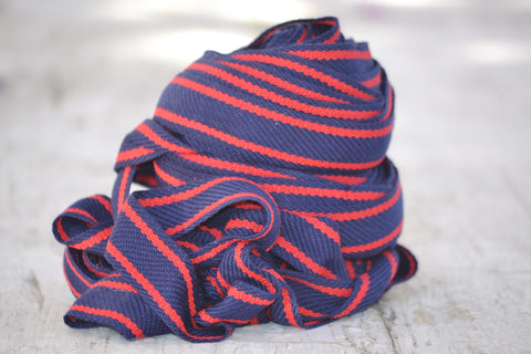 red & blue woven ribbon