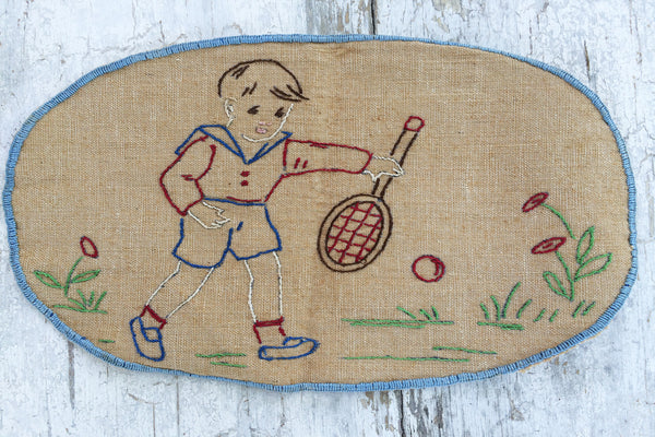 little boy tennis player embroidery piece