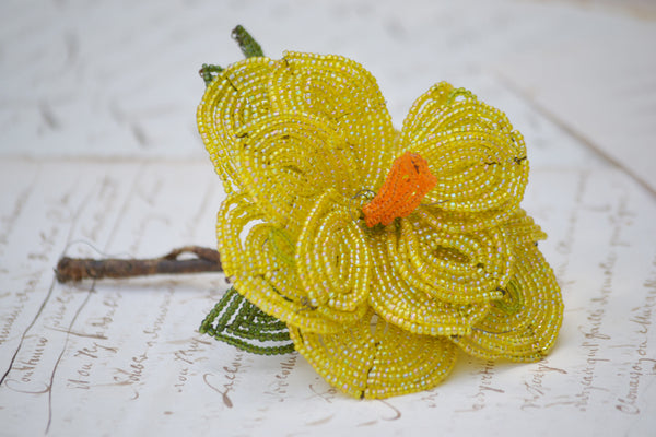 yellow beaded flower