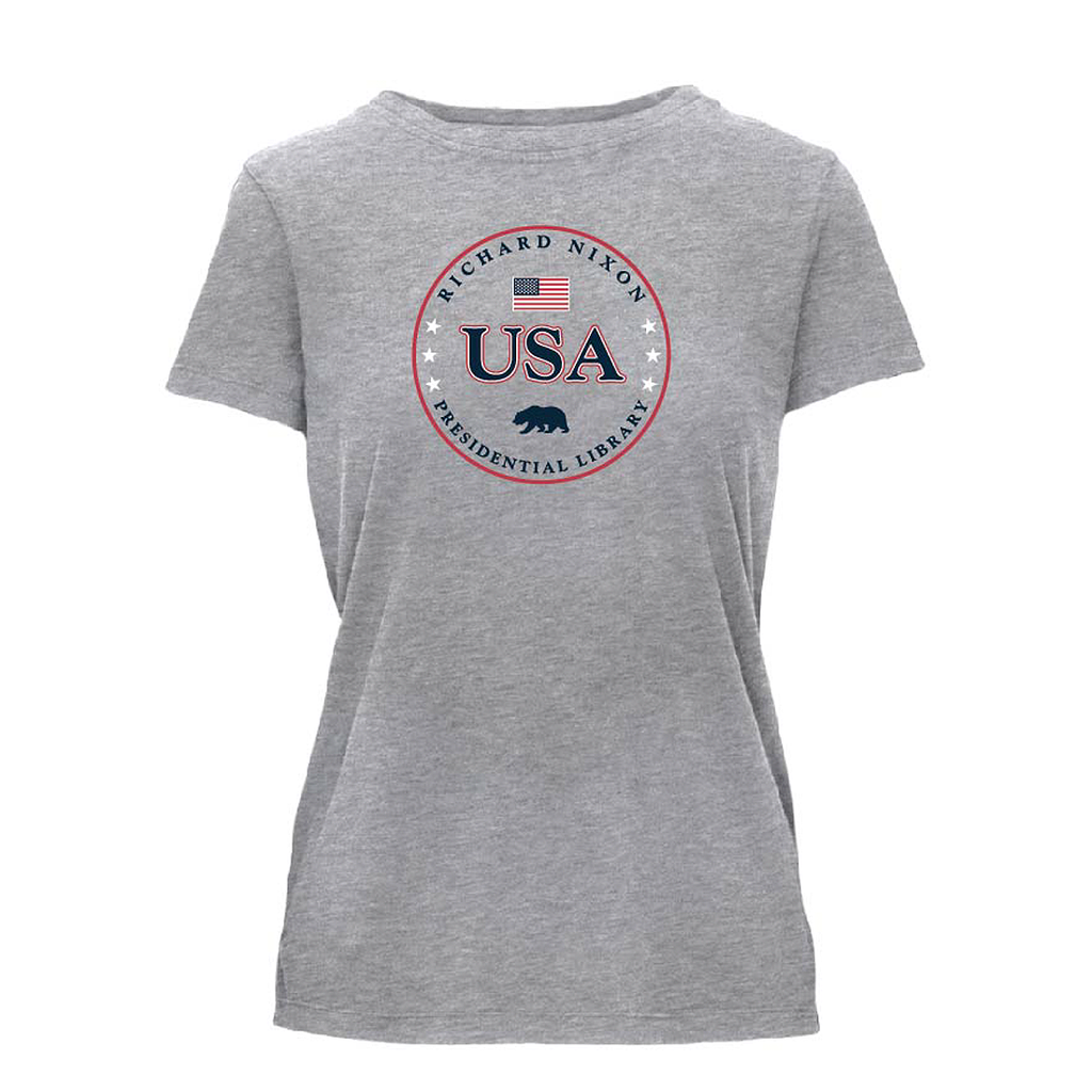 Nixon Library USA Tee Grey