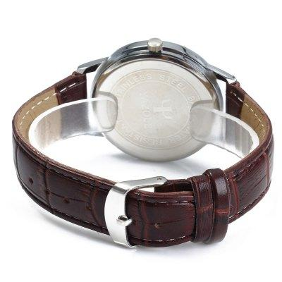 "The ""Yazole"" Men's Dual Scales Quartz Watch with Date Display - Leather Band"