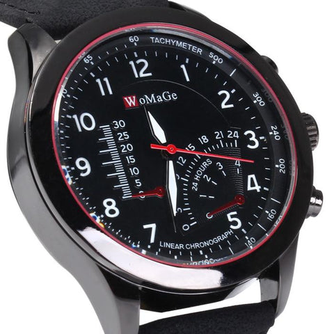 WoMaGe Men's Quartz Watch with Decorative Sub-dials Nubuck Leather Strap