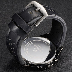 V6 V0270 Male Quartz Watch with Black Leather Band/White Face