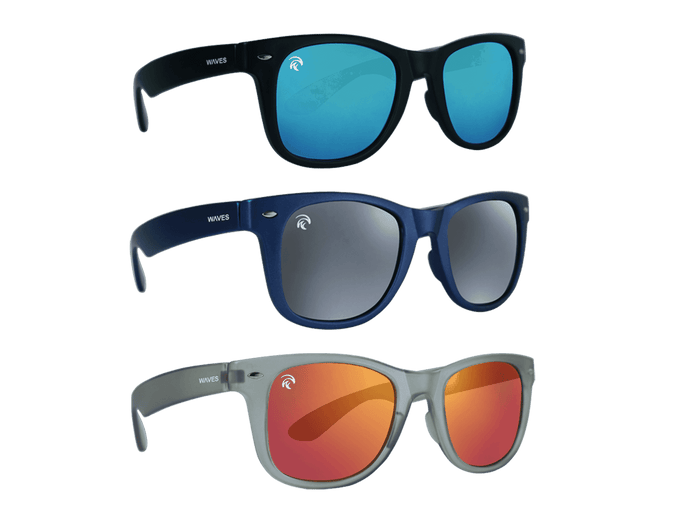 Floating Polarized Sunglasses - Classic - Sunset 3-Pack - (Black/Ice Blue, Navy/Grey Mirror, Clear Grey/Fire Red)