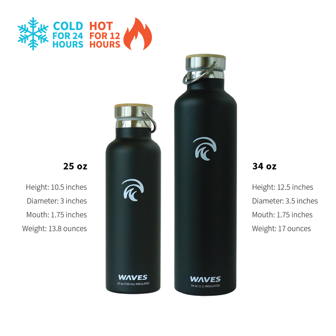 33809b4c90 Forever Cold Water Bottle - Black Sand – Waves Gear