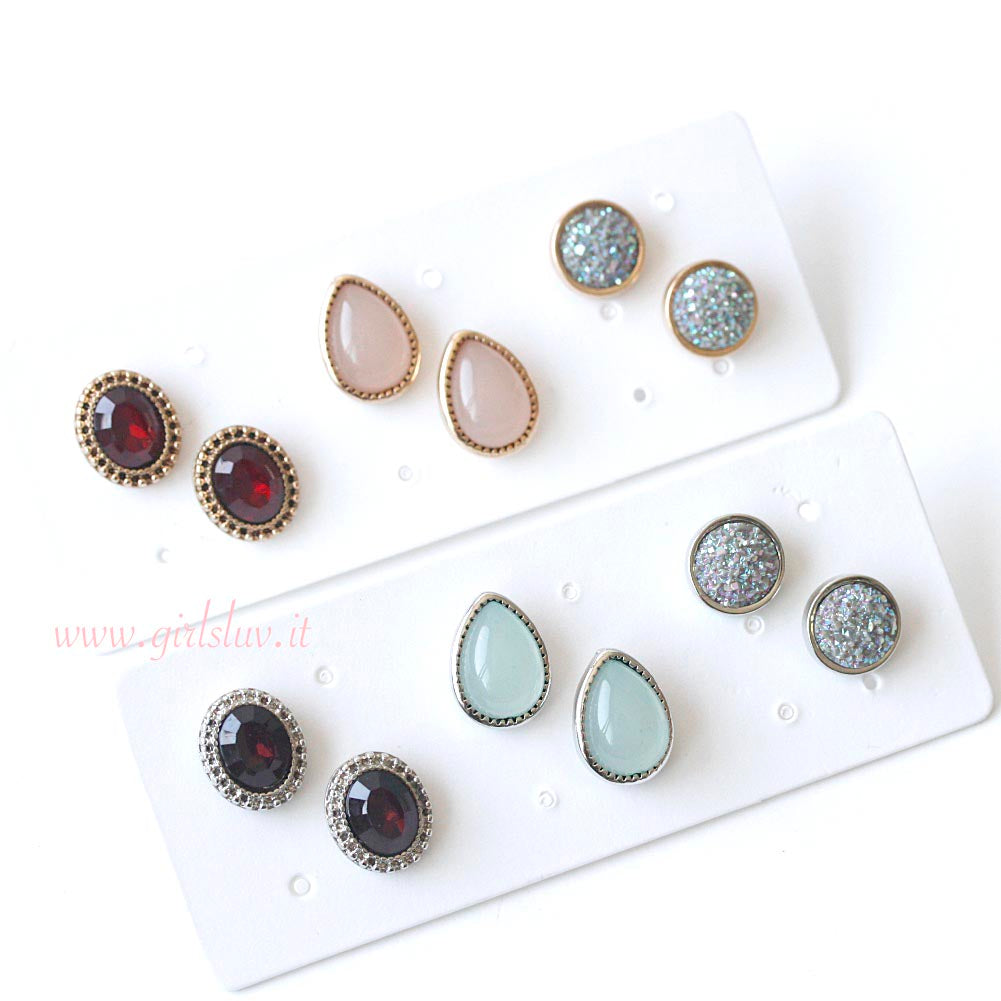 Assorted Multiple Stud Earrings 3 Pairs Set