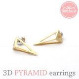 3D triangle shaped stud earrings, 2 colors - girlsluv.it  - 1