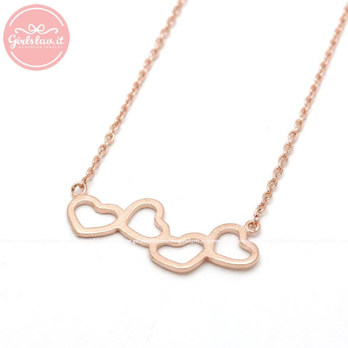 rolling HEARTS necklace, 3 colors - girlsluv.it