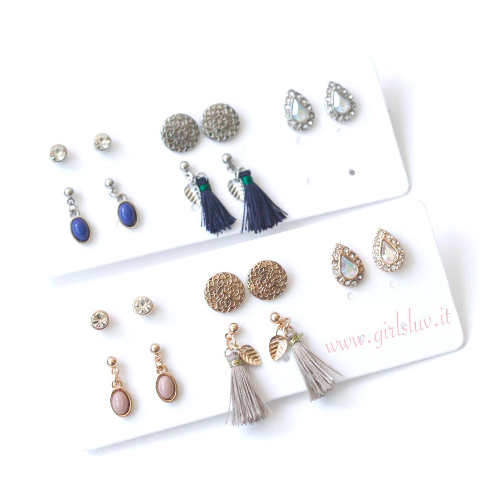 Assorted Multiple Stud Earrings 5 Pairs Set
