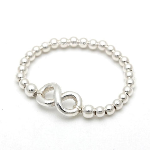 sterling silver, INFINITY with adjustable ball chain ring - girlsluv.it  - 1