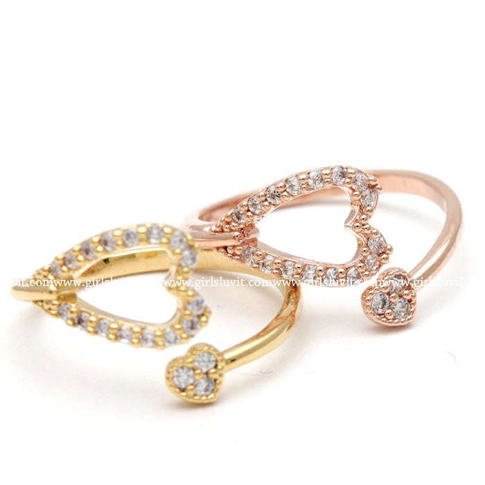 double heart ring, crystals - girlsluv.it  - 1